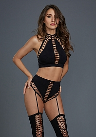 Opaque Seamless Bralette Set - Black