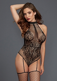 Fishnet and Lace Teddy Bodystocking - Black