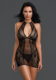 Fishnet and Lace Chemise - Black