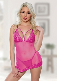 Blush Me Babydoll & G-string - Hot Pink