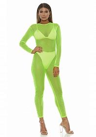 Micro net mock net jumpsuit - Neon Green - S/M