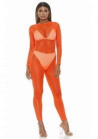 Micro net mock net jumpsuit - Neon Orange - S/M