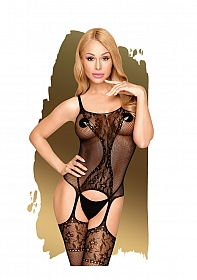 Miss curvy - Net bodystocking with lace details - S-L - black