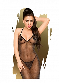Love on fire - Sheer shimmer dress with thong, 2 pieces - S/M -