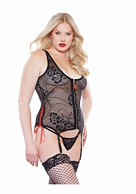 Kitten Crotchless Lace Up Side Teddy - Black - Queen Size