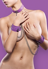 Leather Collar and Handcuffs - Purple
