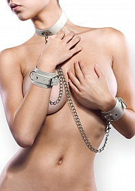 Leather Collar and Handcuffs - White