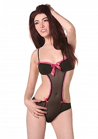 Black Mesh Teddy with Pink Ribbons