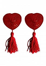 Nipple Tassels - Heart - Red