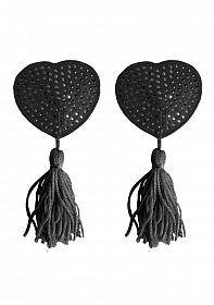 Nipple Tassels - Heart - Black