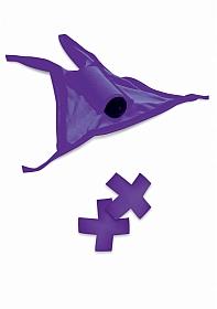 Vibrating Crotchless Panty / Pasties - Purple