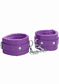 Ouch! Plush Leather Ankle Cuffs - Purple