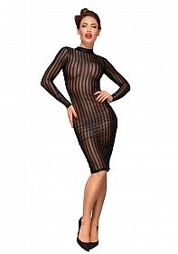 Striped knee-length tulle dress  - Black