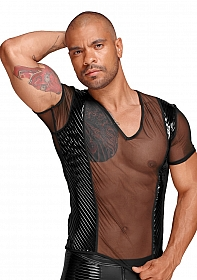 See-through T-Shirt with PVC pleats - Black