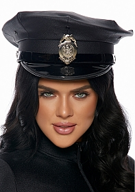Vinyl Patrol Hat with Badge - Black