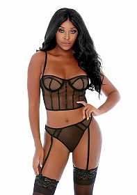 Can't Be Caged Net Bustier Set - Black