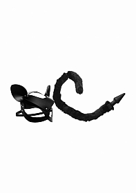 Cat Tail Anal Plug and Mask Set - Black