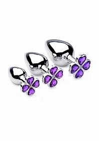 Violet Flower Gem Anal Plug Set - 3 pieces - Silver
