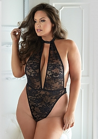 Lace and Mesh halter Teddy - Black