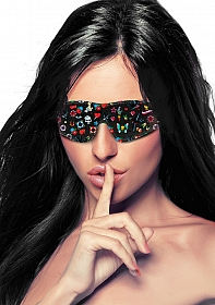Printed Eye Mask - Old School Tattoo Style - Black